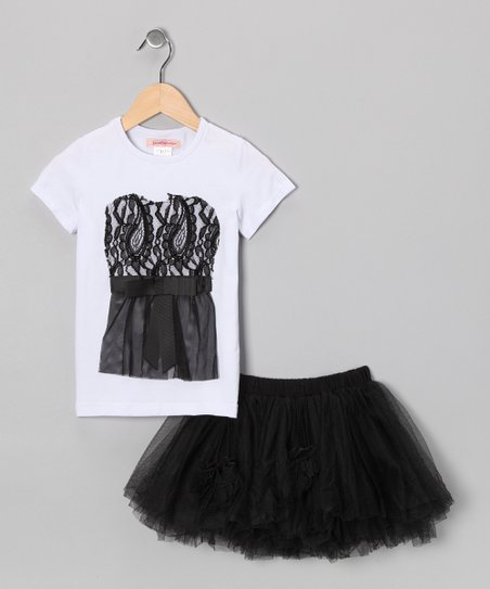 White Lace Tee & Black Tulle Skirt - Toddler & Girls