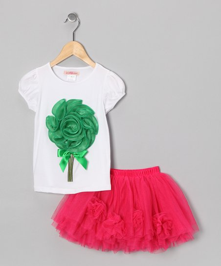 Green Ruffle Flower Tee &amp; Hot Pink Tulle Skirt - Toddler