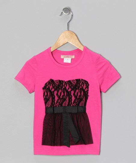 Fuchsia Lace Tee - Toddler & Girls