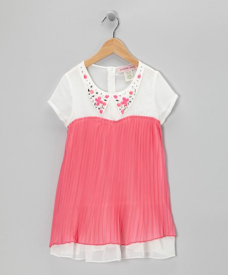 Fuchsia Jewel Collar Tunic - Girls