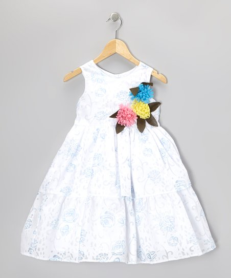 White & Blue Floral Tiered Dress - Toddler & Girls