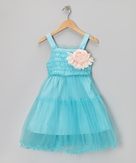 Blue Ruffle Rosette Dress - Toddler & Girls
