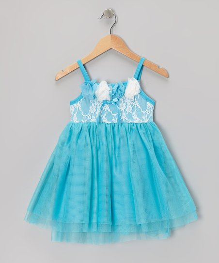 Blue Lace Flower Dress - Toddler & Girls
