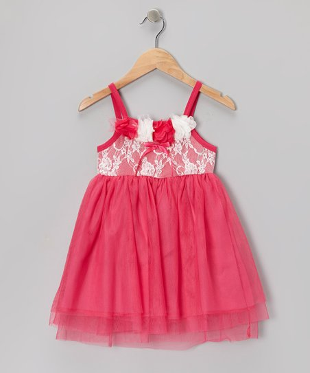 Fuchsia Lace Flower Dress - Toddler & Girls