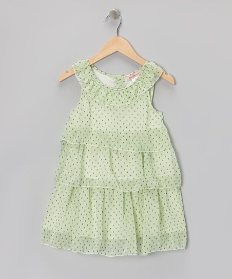 Green Polka Dot Tiered Yoke Dress - Toddler & Girls