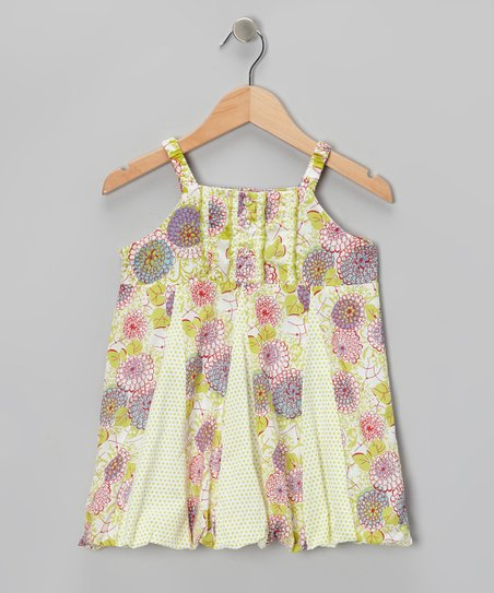 Lime & Purple Floral Pleated Dress - Toddler & Girls