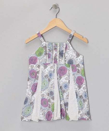White & Purple Floral Pleated Dress - Toddler & Girls