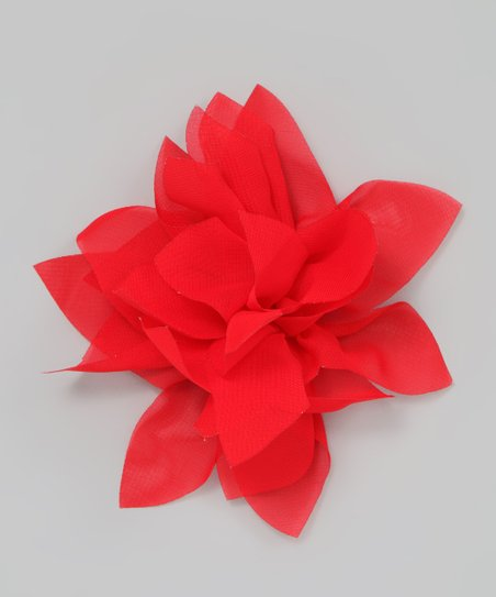 Red Chiffon Flower Clip