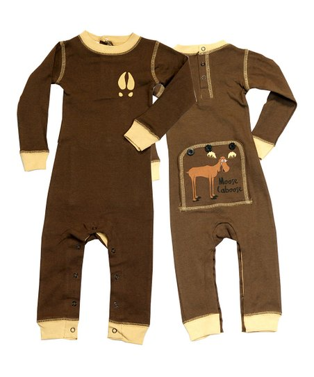 Brown Moose Caboose Flapjack Playsuit - Infant
