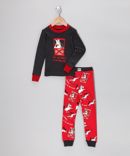 Red Unstable in the Morning Pajama Top & Bottoms - Toddler & Kids