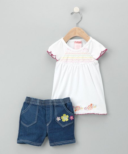 Allura White Lettuce Hem Top & Shorts