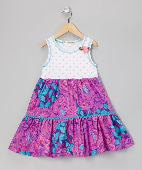 Purple Floral Polka Dot Dress - Infant, Toddler & Girls