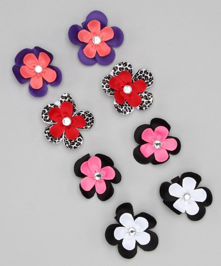 Black Bitty Flower Clip Set