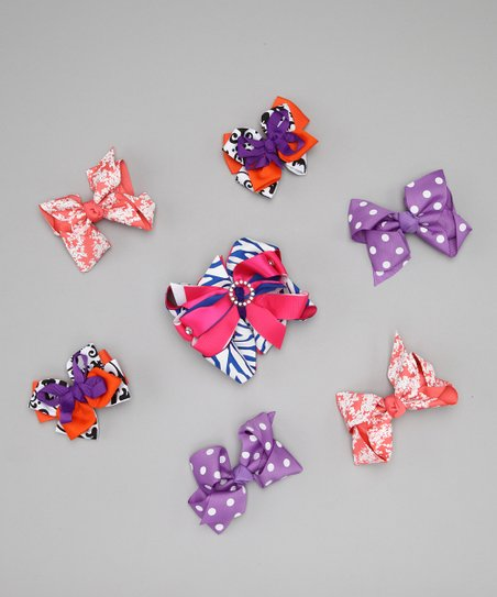 Purple Sassy Sunshine Bow Clip Set