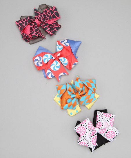 Coral Candy Bow Clip Set