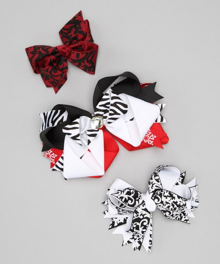 Red Lipstick Lace Bow Clip Set