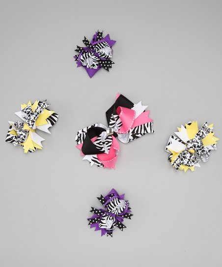 White Zebra & Damask Bow Clip Set