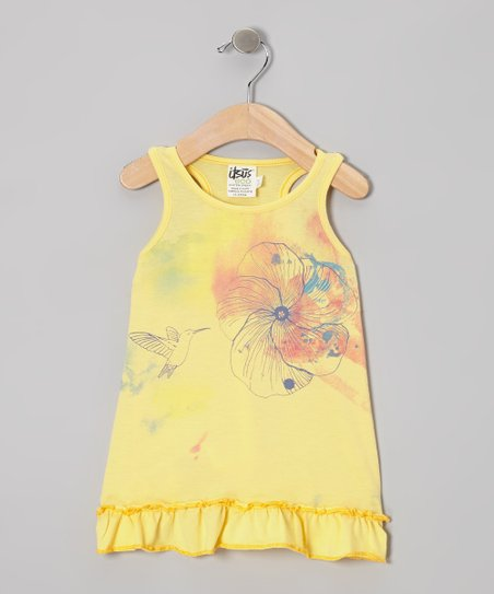 Mellow Yellow Hummingbird Organic Dress - Infant