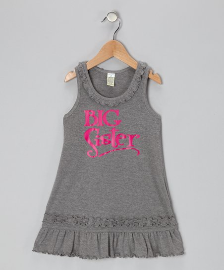 Dark Heather Gray &#039;Big Sister&#039; Dress - Infant, Toddler &amp; Girls