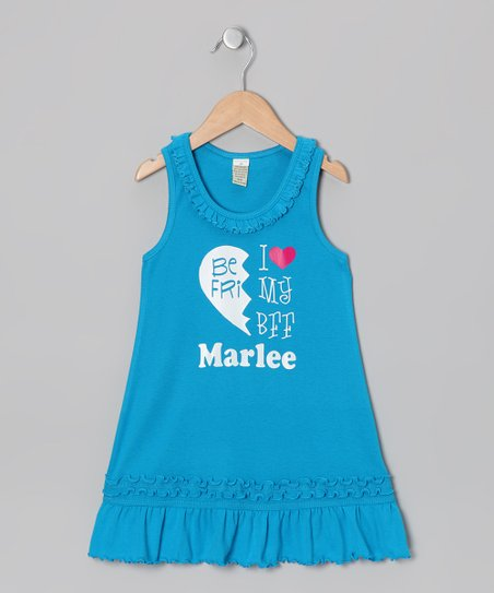 Blue &#039;BFF&#039; Left Personalized Dress - Infant, Toddler &amp; Girls