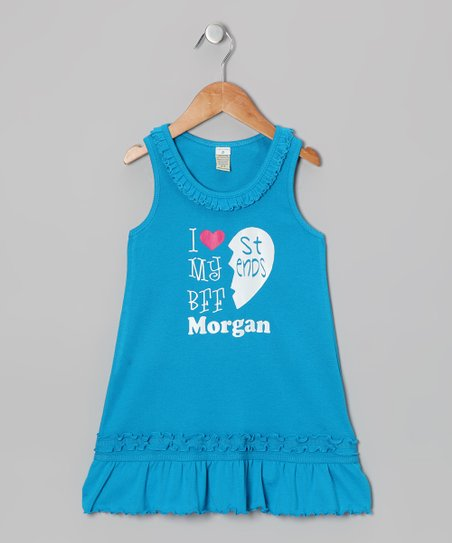 Blue 'BFF' Right Personalized Dress - Infant, Toddler & Girls