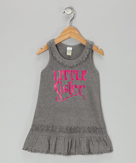 Dark Heather Gray 'Little Sister' Dress - Infant, Toddler & Girls