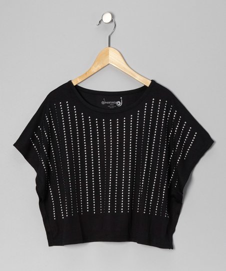Black Studded Poncho - Girls