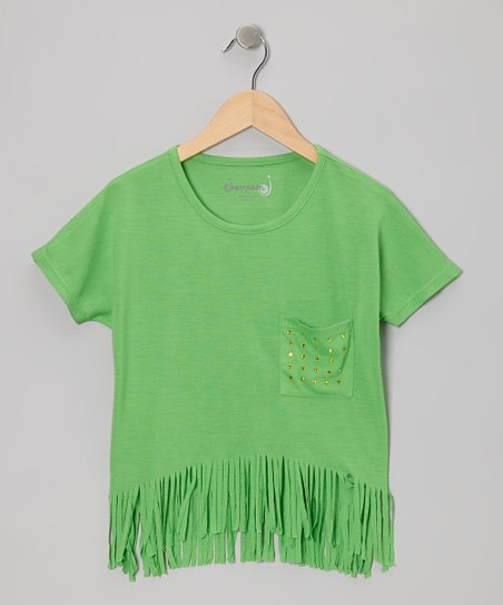 Apple Green Fringe Top - Girls