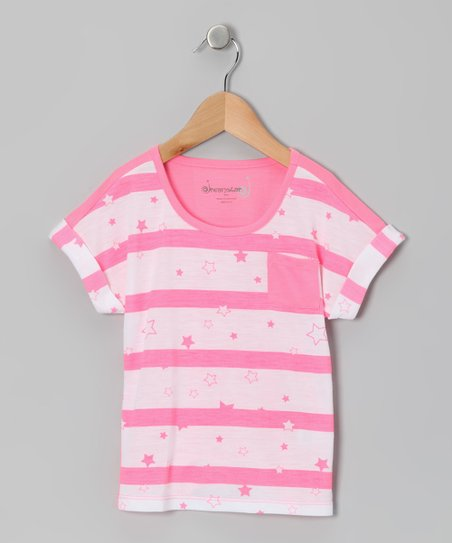 Neon Pink Electric Stripe Pocket Tee - Toddler