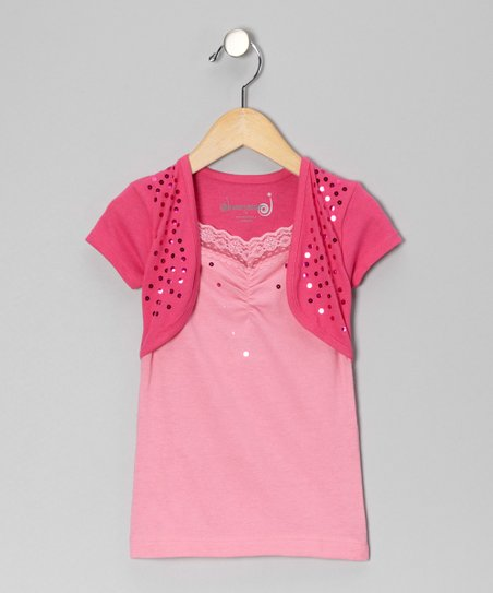 Fuchsia Sequin Layered Top - Toddler