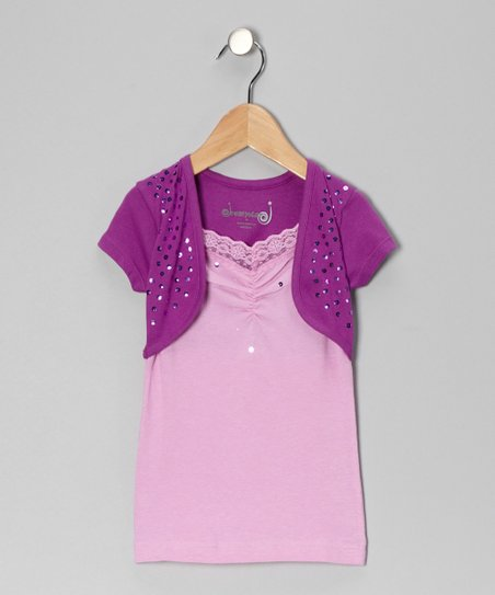 Purple Sequin Layered Top - Toddler