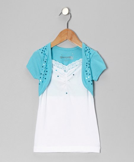 Turquoise Sequin Layered Top - Toddler