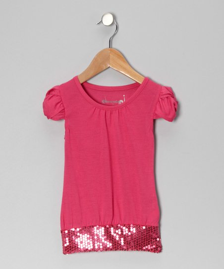 Fuchsia Sequin Top - Girls