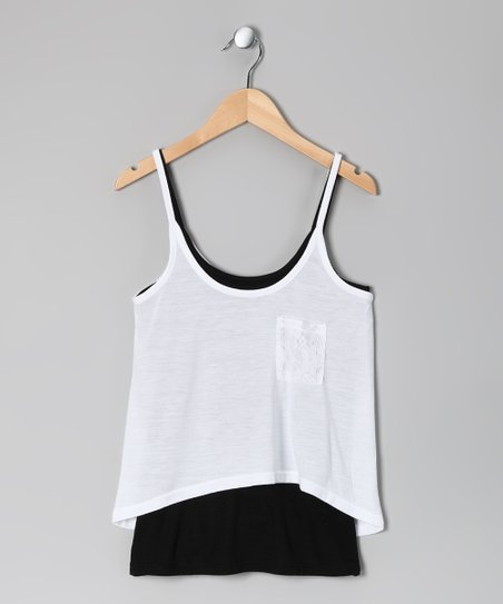 White & Black Layered Tank - Toddler
