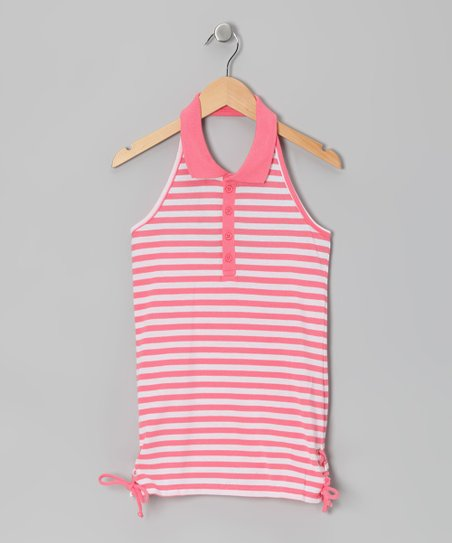 Coral & White Stripe Halter Top - Girls