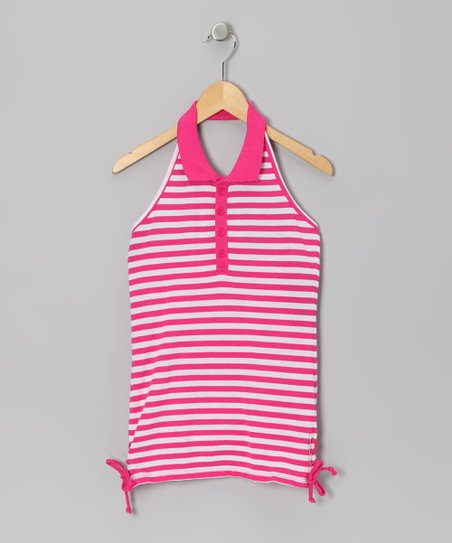 Fuchsia & White Stripe Halter Top - Girls