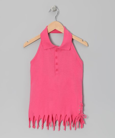Hot Pink Fringe Halter Top - Girls