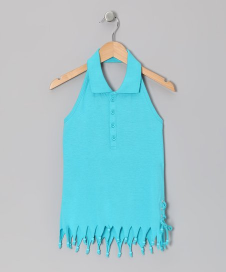 Turquoise Fringe Halter Top - Girls