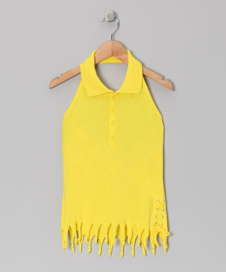 Lemon Fringe Halter Top - Girls