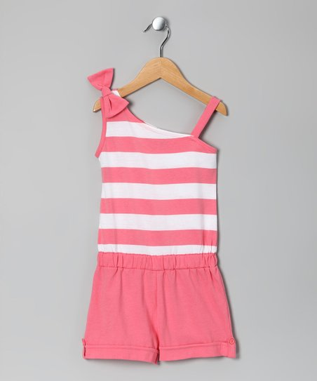 Coral Stripe Bow Romper - Girls