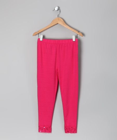 Fuchsia Lace Leggings - Toddler