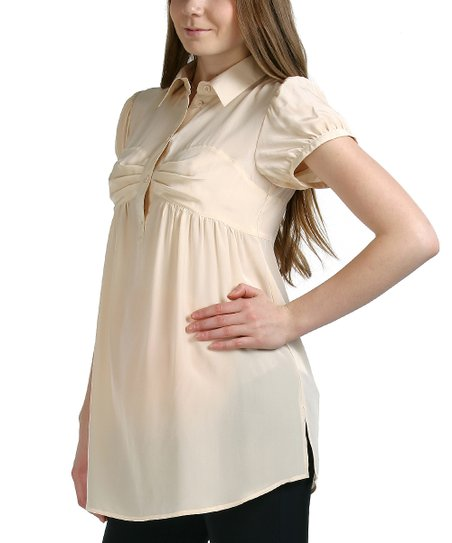 Peach Rileigh Silk Maternity Top