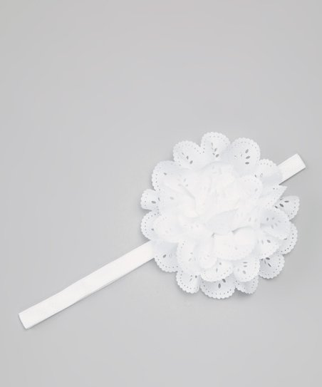 White Eyelet Flower Headband