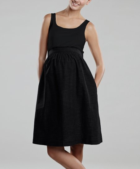 Black Twill Maternity Empire-Waist Dress