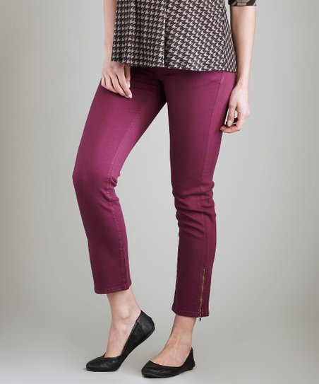 Violet Zipper Under-Belly Maternity Skinny Pants