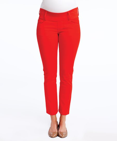 Cherry Under-Belly Maternity Cropped Skinny Jeans