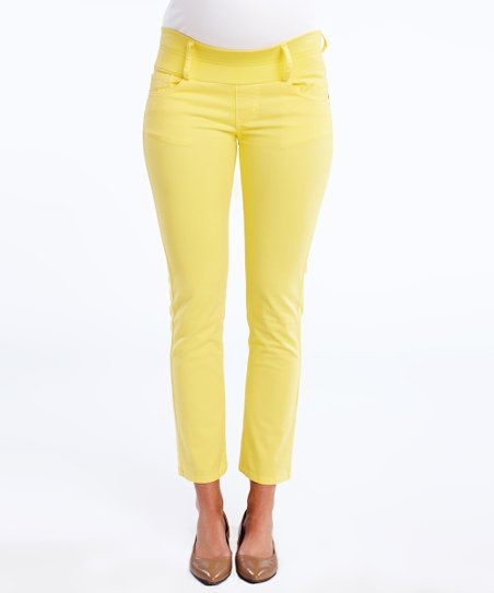 Lemon Under-Belly Maternity Cropped Skinny Jeans
