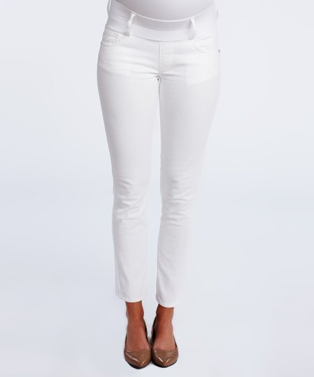 White Under-Belly Maternity Cropped Skinny Jeans