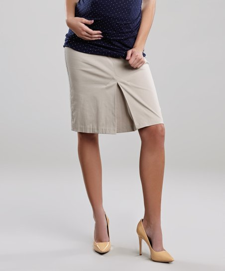 Khaki Pleated Maternity Skirt