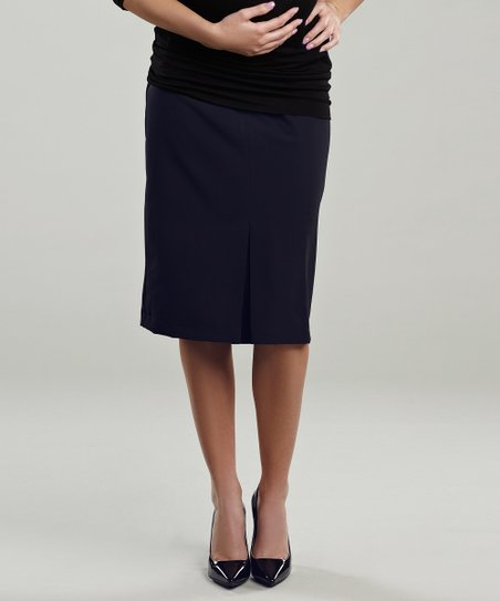 Navy Pleated Maternity Skirt